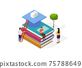 Illustration of a world book day concept. Modern young people read books. Men sitting on a big book stack. Vector isometirc illustration. 75788649