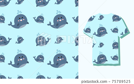 Cute Character Fish Animal Seamless Patterns Can Be Used as Designs On Clothes, Wallpapers, Backgrounds. Vector Illustration 75789525