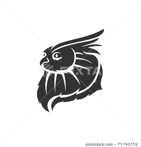 Owl Head mascot illustration Template isolated in white background 75790759