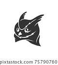Owl Head mascot illustration Template isolated in white background 75790760
