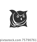 Owl Head mascot illustration Template isolated in white background 75790761