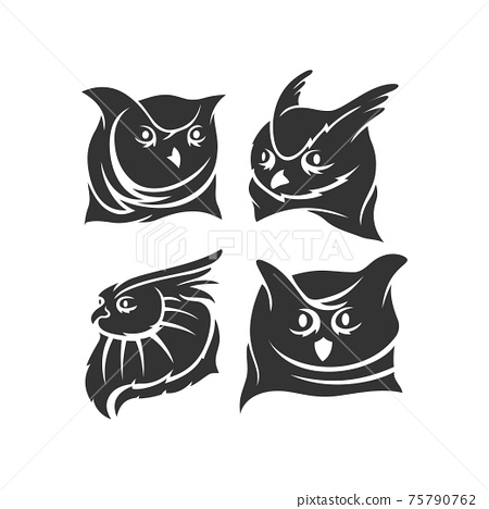 Owl Head mascot illustration Template Set in white background 75790762
