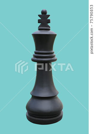 Black chess king standing isolated on cyan background - clipping path 75790853