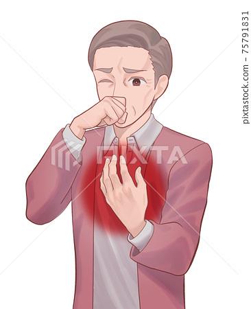 咳込み 가슴을 누르는 수석 남자 (아저씨) 75791831