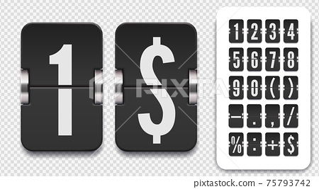 Set of flip scoreboard numbers and symbols with shadows for countdown timer. Vector template on transparent background. 75793742
