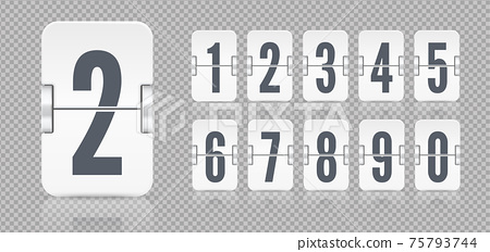 White set of flip numbers on a mechanical scoreboard with reflections. Vector template for your design. 75793744
