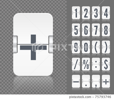 Vector old time meter of number and symbol. Retro scoreboard modern ui. White analog flip airport board countdown timer 75793746