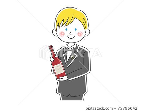 介紹酒的白人男性侍酒師的插圖 75796042