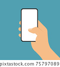 Flat design illustration of man or woman hand holding mobile phone with blank white touch screen on green background, vector 75797089