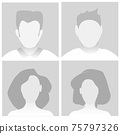 Default Placeholder Avatar Profile on Gray Background. Vector illustration Man and Woman EPS10 75797326
