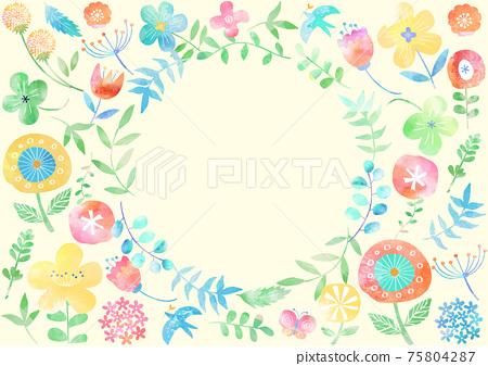 斯堪的納維亞風格_水彩花卉圖案框架786 75804287
