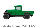 Nursery retro truck drawing. Pickup car in cartoon style. Isolated vehicle art for kids bedroom decor. Side view of vintage automobile. Classic green auto for toddler wall art 75804322