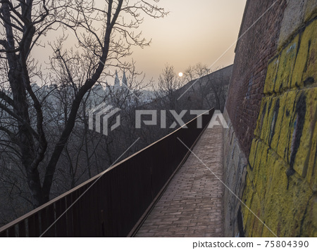 Brick path, Walkway on Vysehrad fortification, old defense wall of the Vysehrad fortress ruins in sunset light with bare trees 75804390