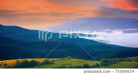 mountainous rural landscape at sunrise. trees and agricultural fields on hills rolling in to the distant valley full of fog. ridge beneath a sky with clouds in morning light 75806634