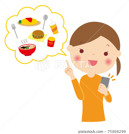 스마트 폰에서 식사 배달을 부탁 여성 일러스트 75808299