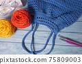 Blue Handmade Knitting Bag on Wood Table with Yarn Ball and Knitting Needles 75809003