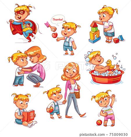 Cartoon kid daily routine activities set 75809030