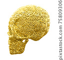 Gold Carved Skull Side View 75809306