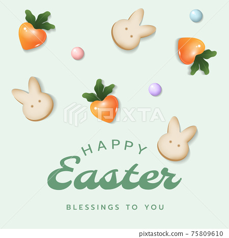 Happy Easter square card, poster, banner or frame background template with Easter letterings, bunny crackers, heart carrot, candy in pastel colours. 75809610