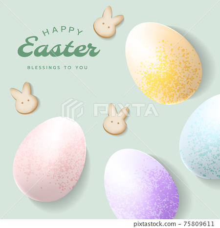 Happy Easter square card, poster, banner or frame background template with sparkling Easter eggs, letterings, bunny crackers in pastel colours. 75809611