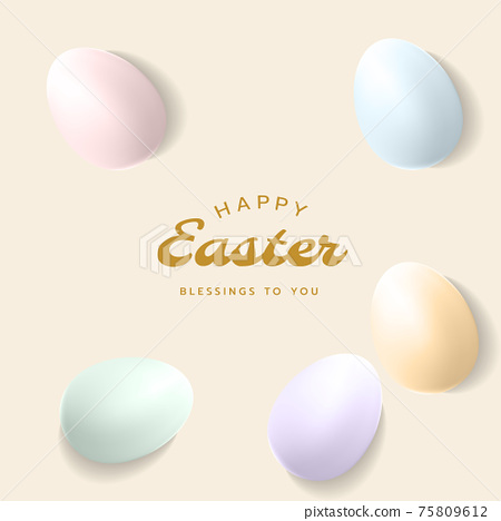 Happy Easter square card, poster, banner or frame background template with Easter eggs and letterings in pastel colours. 75809612