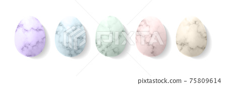 Marble Easter eggs in pastel colours mockup template. Isolated on white background. 75809614