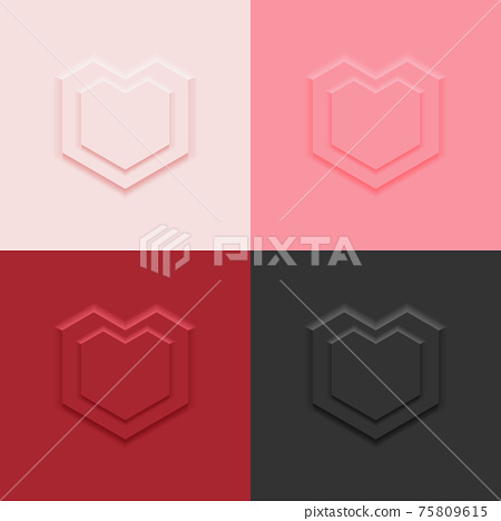 4 colors top view straight line heart shape display podium stand background in neumorphism style mockup template for product or promotion. 75809615