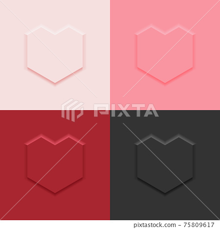 4 colors top view straight line heart shape display podium stand background in neumorphism style mockup template for product or promotion. 75809617