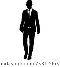 Silhouette businessman man in suit with tie on a white background 75812065