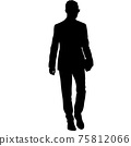 Silhouette businessman man in suit with tie on a white background 75812066