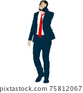 Silhouette businessman man in suit with tie on a white background 75812067