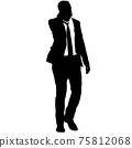 Silhouette businessman man in suit with tie on a white background 75812068