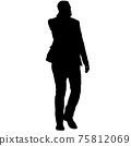 Silhouette businessman man in suit with tie on a white background 75812069