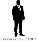 Silhouette businessman man in suit with tie on a white background 75812071