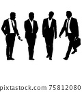 Set silhouette businessman man in suit with tie on a white background 75812080