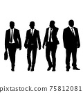 Set silhouette businessman man in suit with tie on a white background 75812081