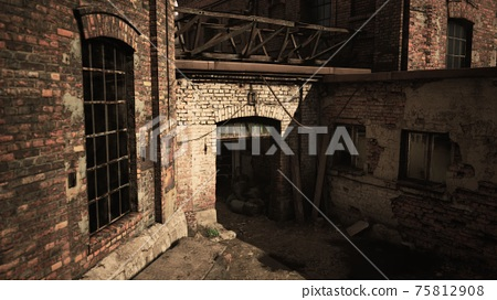 Abandoned industry buildings at sunset 75812908
