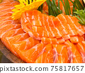 salmon sashimi slice, japanese food 75817657