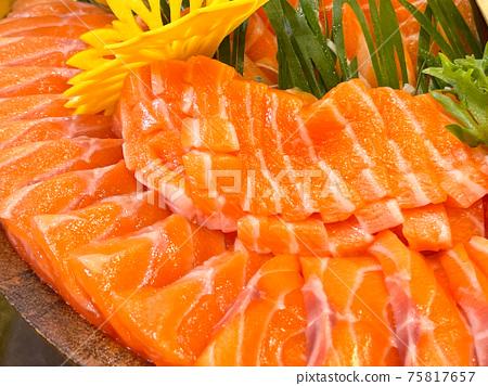 salmon sashimi slice, japanese food 75817657