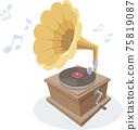 復古的留聲機,聽起來像唱片。 75819087