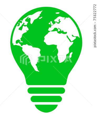 지구를 그린 전구 마크 친환경 이미지 75822772