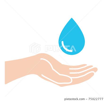 손바닥과 물방울 아이콘 75822777