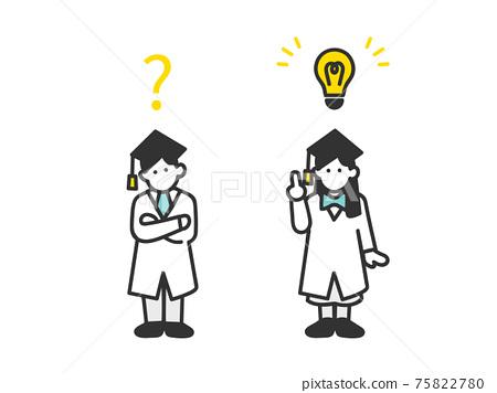 思考和啟發想法的孩子的圖像插圖材料 75822780