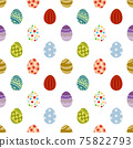 簡單的複活節彩蛋無縫模式圖/白色/明亮(大) 75822793