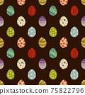 簡單的複活節彩蛋無縫模式圖/棕色/明亮(大) 75822796