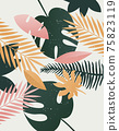 Vector summer tropical print. Template background palm trees, leaves, leaf, nature,summer time art 75823119
