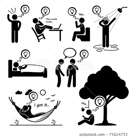 Man Thought of New Idea Stick Figure Pictogram Icons. A set of human pictogram representing a man getting and ignited a new idea in different places and situations. 75824755