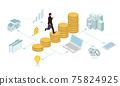 跑與硬幣的商人的商業圖像例證等量 75824925