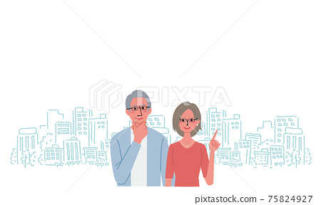 수석의 남녀와 거리의 일러스트 75824927