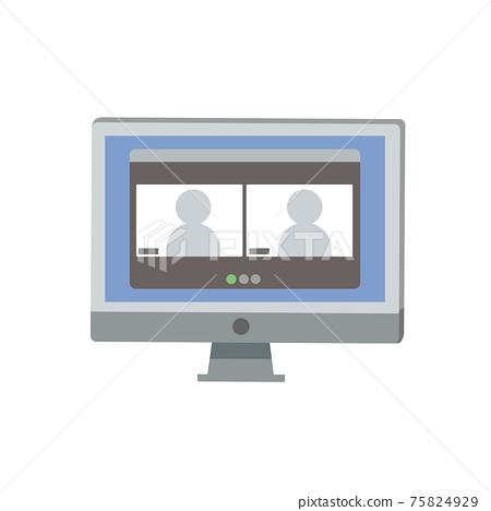 온라인 지원 온라인 면접 일러스트 75824929